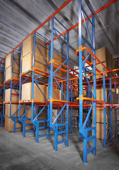 drive-in rack system in a warehouse