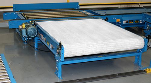 PLEZD plastic belt pallet conveyor unloaded to show plastic belt system