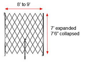 "Retractable Folding Gate, Single, 8' - 9' W, 7' 6"" Collapsed Ht, 7' Expanded Ht"