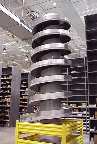 Spiral conveyor at the TTI distribution center.